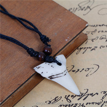 Fashion Adjustable Black Cord White Shark Teeth Tooth Resin Necklace