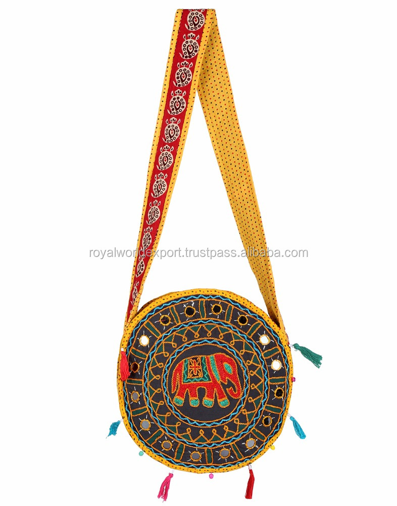 Completely Discounted Embroidered Handmade Boho Hippie shoulder sling bags/Wholesale Handmade Ethnic Style Cotton Handbag
