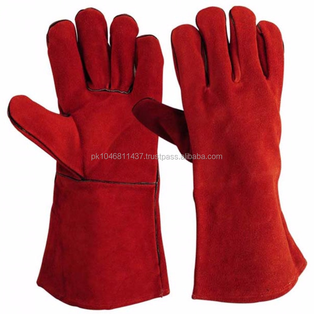 Red Cow Split long Leather Work Welding Gloves