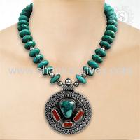 Exquisite Fashion Of Coral & Turquoise Necklace Wholesaler Jaipur Silver Jewelry 925 Sterling Silver Jewelry