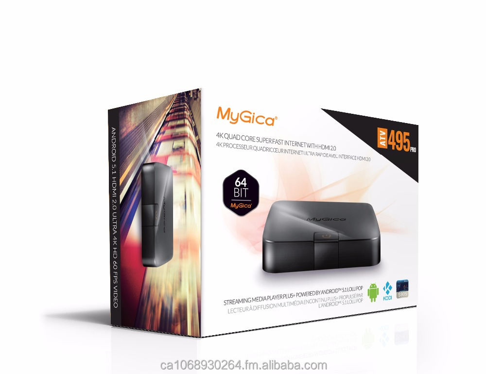 MyGica ATV 495 PRO Quad Core Android TV Box with KODI [ATV 495 PRO - 2GB/16GB/4K/AC Wireless/ KR-41 Remote Control]