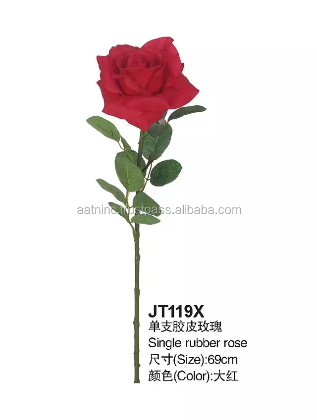 Hot sale names of flowers used for decoration with single rubber rose