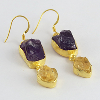 Gold Plated !! Amethyst_Citrine 925 Sterling Silver Earring, 925 Silver Gold Plated Earring For Beautiful Women