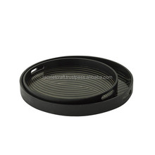 High quality best selling eco friendly Set of 2 Black Lacquer finished round tray from Viet Nam
