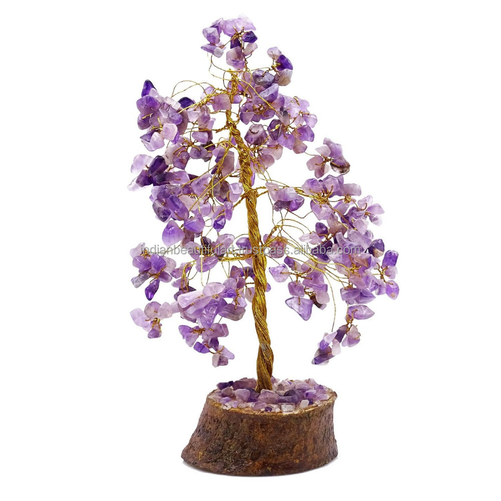 Amethyst Stone Tree Reiki Gemstones Feng Shui Spiritual Vastu Bonsai Table Decor CD1852E