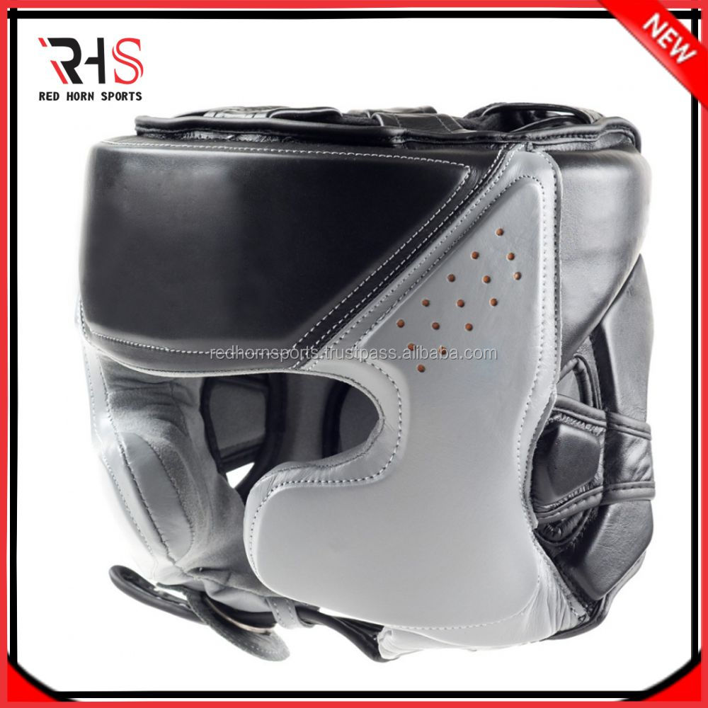 RHS Real Leather Boxing Head Guard, Top Quality Boxing Helmet