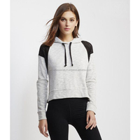 black grey pull over crop hoodie for girls