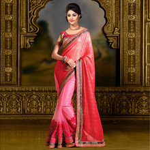 Pink Colored Chiffon Embroidered Saree With Blouse.