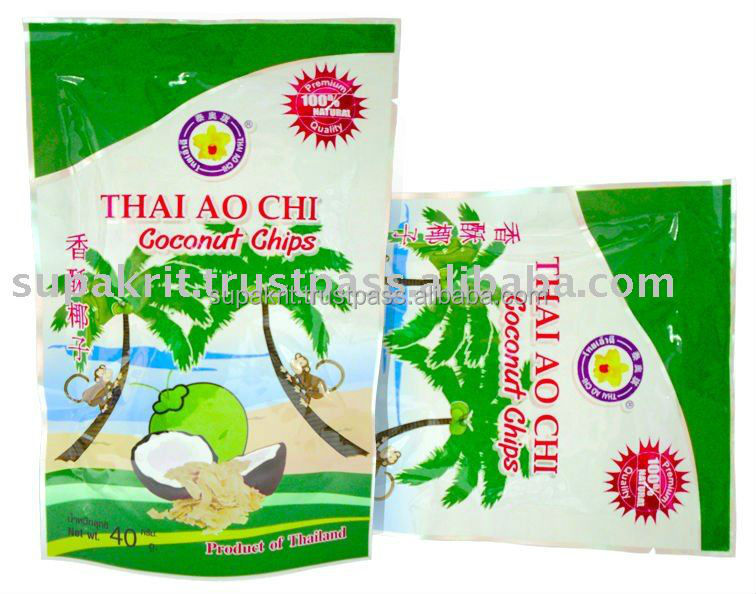 Toasted delicious Coconut Chips 40 gm from Thailand by Thai Ao Chi Fruits
