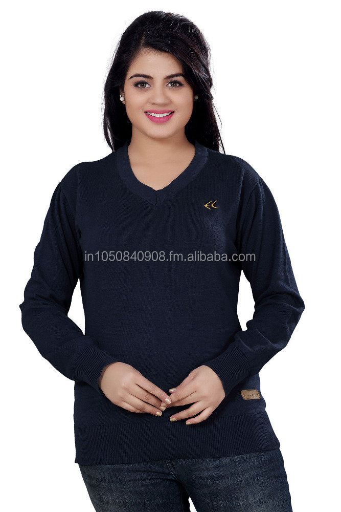 Elegance Cut Navy Blue Cotton Women's V-Neck Sweater