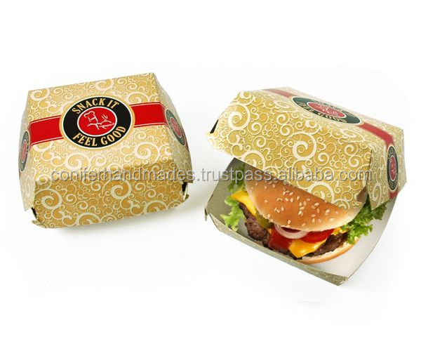 custom printed burger boxes made from recycled card stock with custom printed logos in custom made sizes for burger manufacturer