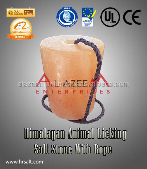 Finest Himalayan Cylinder Shape Animal Licking Salt With Rope