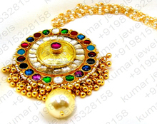 Big Round Heavy Multi Color Kundan Stone Pearl Beaded Indian Gold Plated 22kt Designer Head Jewelry Maang Tikka