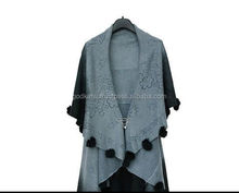 Fashion Indian Handmade Ladies Casual Lady Wool fur Balls Coat Cape Shawl Woolen Poncho Jacket Vest Cardigan