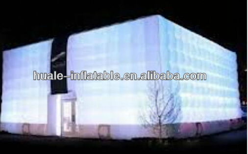 Cubical gaint grass inflatable tent with led light for event/LED Durable and popular large inflatable tent for party