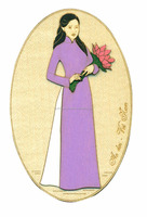 Fridge magnet with picture style vietnam, Ao dai