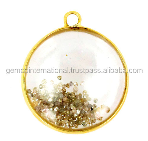 Diamond Gemstone Jewelry 14k Yellow Gold Loose Diamond Crystal Shaker Pendant