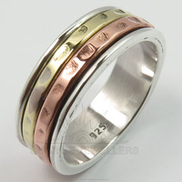 WholeSale Collection ! 925 Solid Sterling Sliver Three Tone Spinner Band Beautiful Deco Ring Every Sizes Best Gift Offers