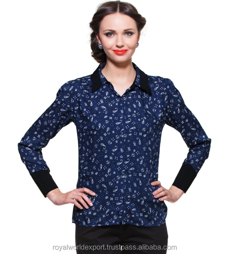 BLUE PRINTED SHIRT WITH CONTRAST COLLAR AND CUFF DESIGNER TOP LADIES NEW DESIGN FASHION TOP