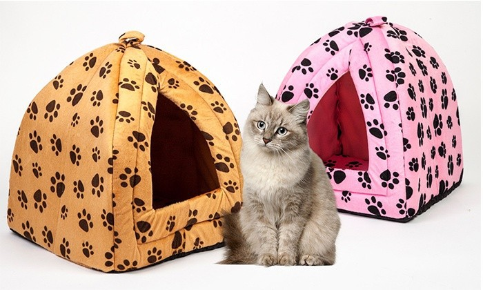 Waterproof Luxiary Cat and Small Pet Plush Enclosed Pet Bed