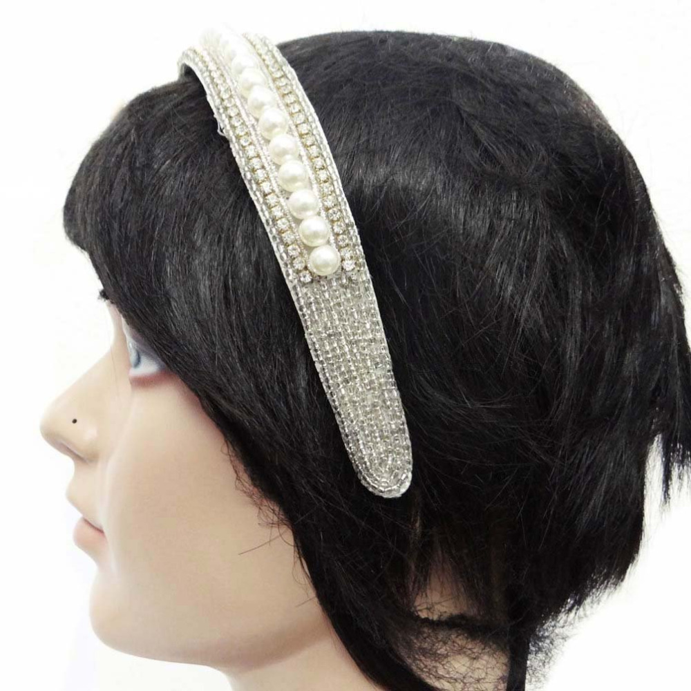 White Pearl Beaded Headband Elegant Hair Band Women Party Wear Accessory HB16