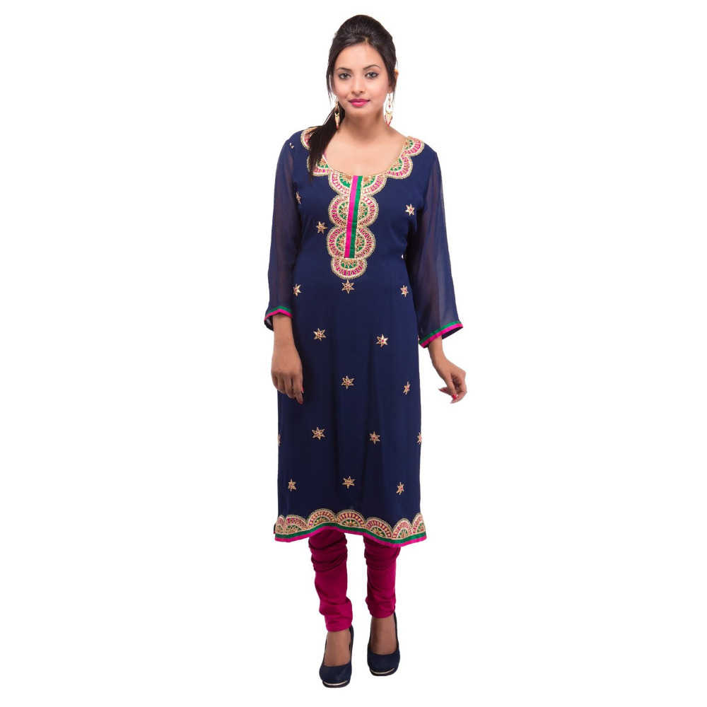 Plus size Blue Georgette Straight Fit Kurti ( DMK_00035 )