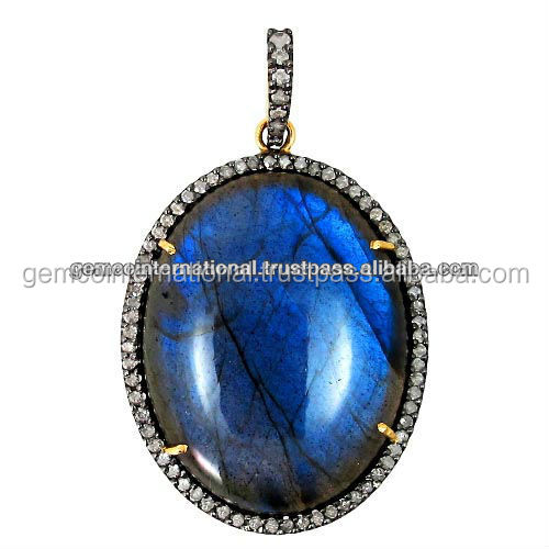 14k Yellow Gold Pave Diamond Labradorite Pendant Jewelry Silver Gemstone Jewelry Supplier