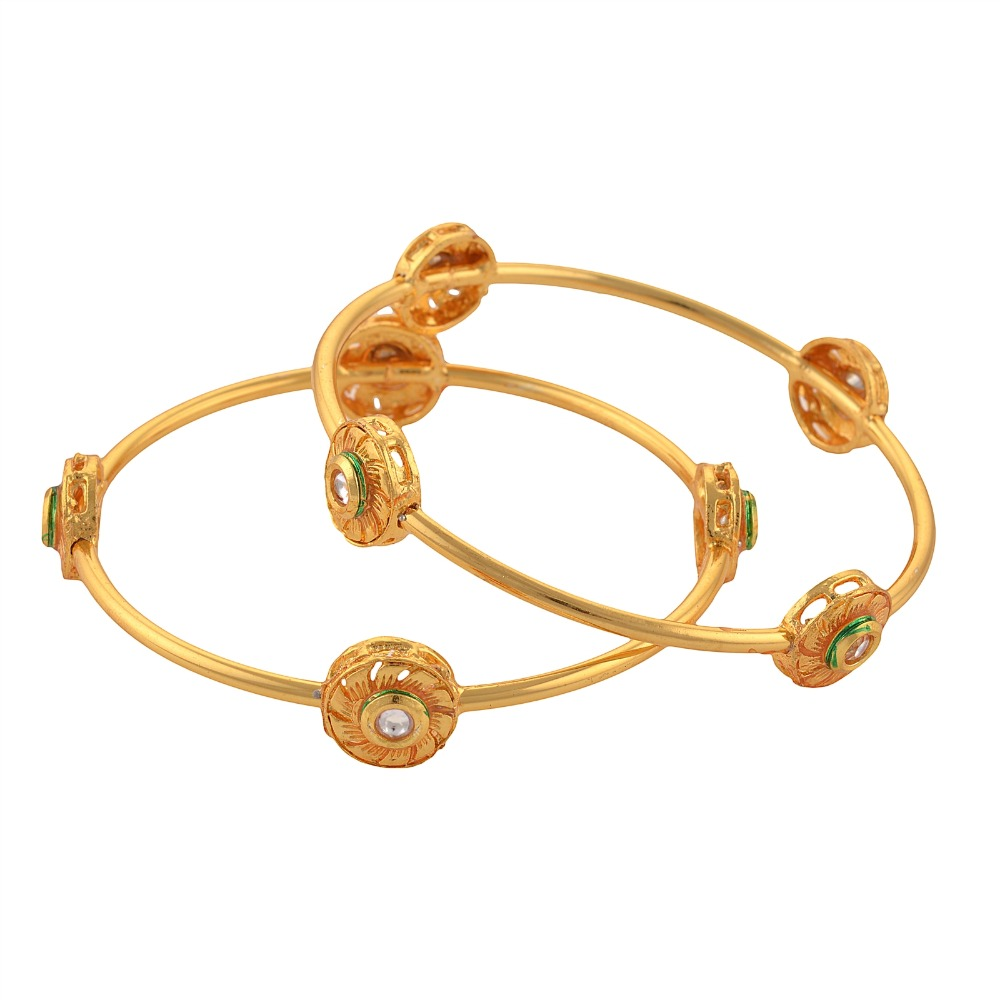 Zephyrr Fashion Gold Tone Bangle with Kundan for Women Pair Party Wear