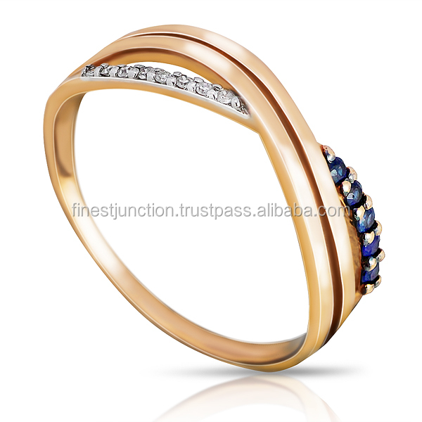 Diamonds And Sapphires Classic 14k Gold Ring Round Brilliant Cut Trendy Exclusive Design Gold Jewelry Half Set