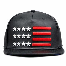 Leather Black Embroidery Star Stripe US Flag Baseball Cap