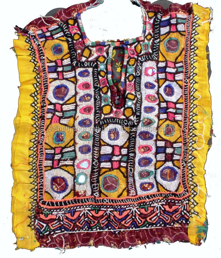Indian vintage banjara neck yoke with embroidery and mirror