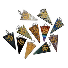 Pentagram Engraved Arrowheads Pendants Made by Crystal Export from Khambhat