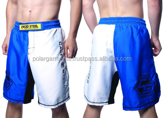 Blank Blue and white MMA shorts