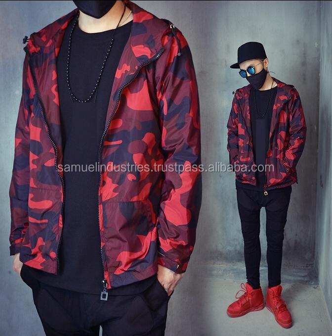 European Streetwear Style Retro Red font back Camo bomber jacket\Fashion Zipper camouflage windbreaker bomber jackets