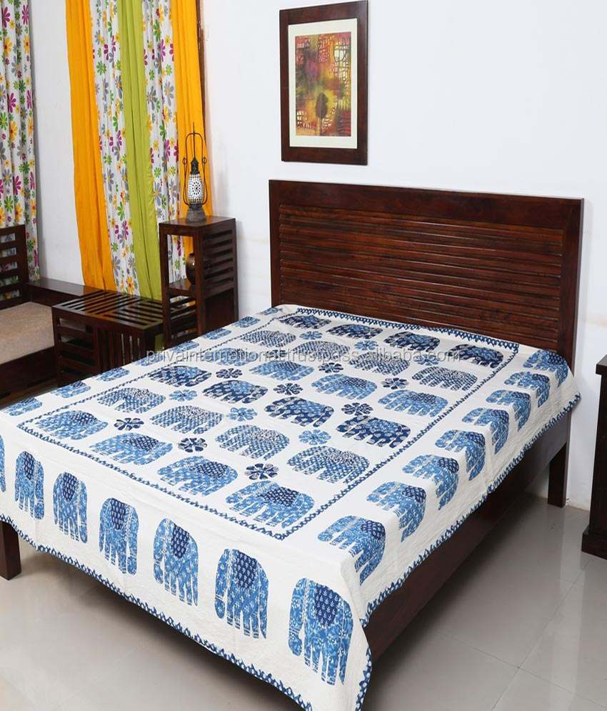 elephant patch work bed cover/applique indigo bed spread/handmade bed cover