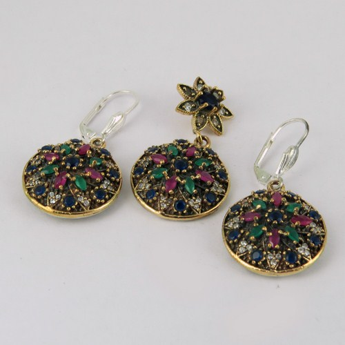 Fabulous Gemstone Multi Color 925 Sterling Silver Jewelry Set, Indian Silver Jewellery, Fresh Gemstone Jewellery