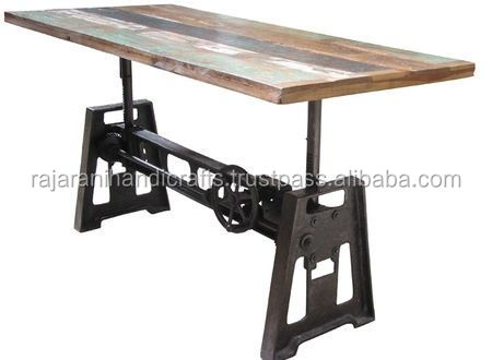 industrial & vintage Cast iron & reclaimed wood Crank dining table
