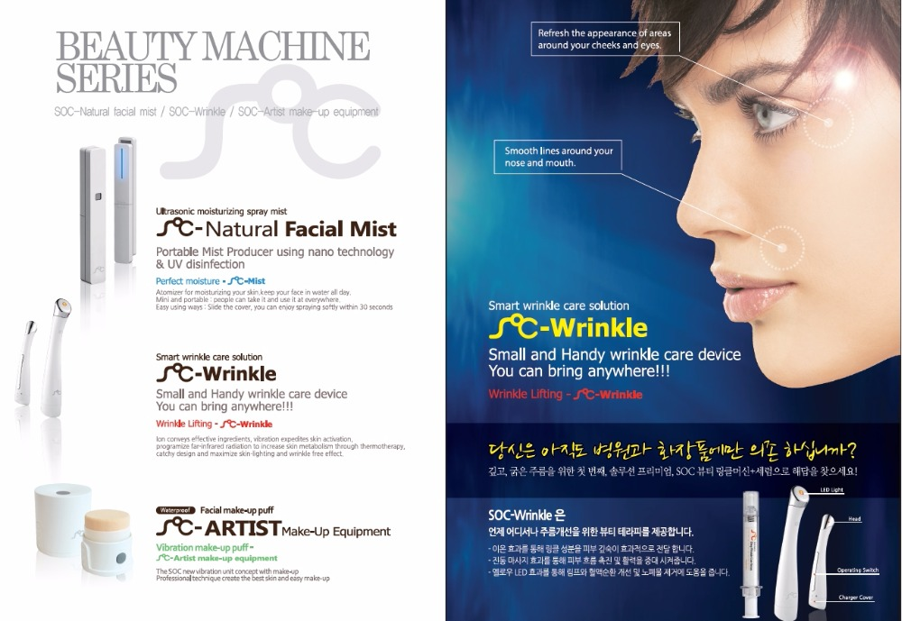 Beauty Machine 1.Facial make-up puff 2.Ultrasonic moisturizing spray mist 3.Smart wrinkle care solution