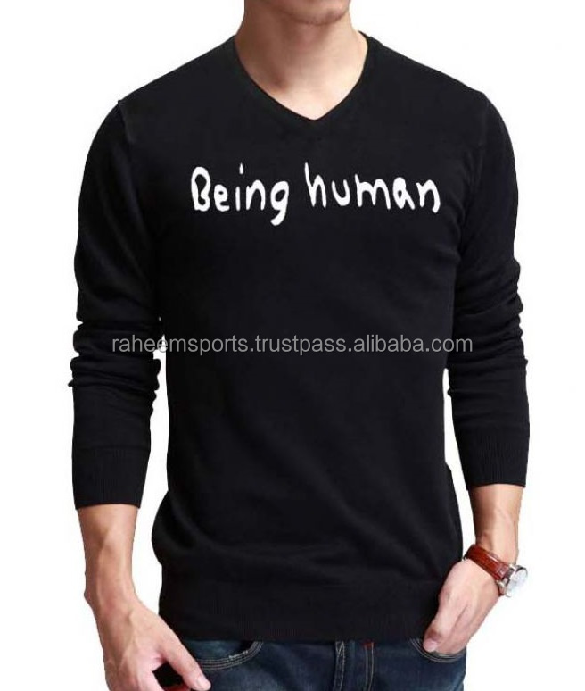 Being Human Black Full Sleeves V-neck T-shirts