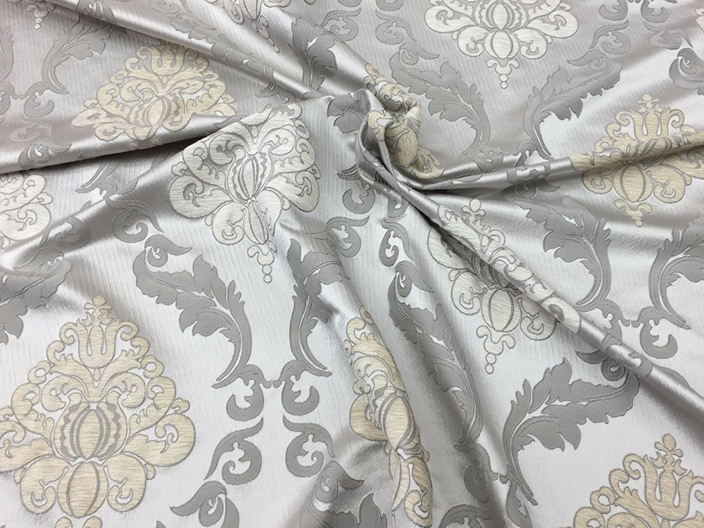 Silver Burnout Damask Upholstery Drapery Fabric. polyester burnout fabric. Rayon burnout fabric. printed burnout fabric