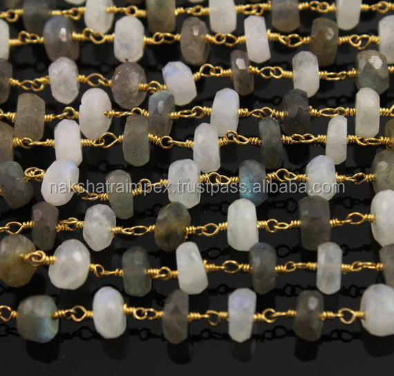Rainbow Moonstone & Labradorite 6-7mm Roundel Faceted Beaded Gold Plated Rosary Chain