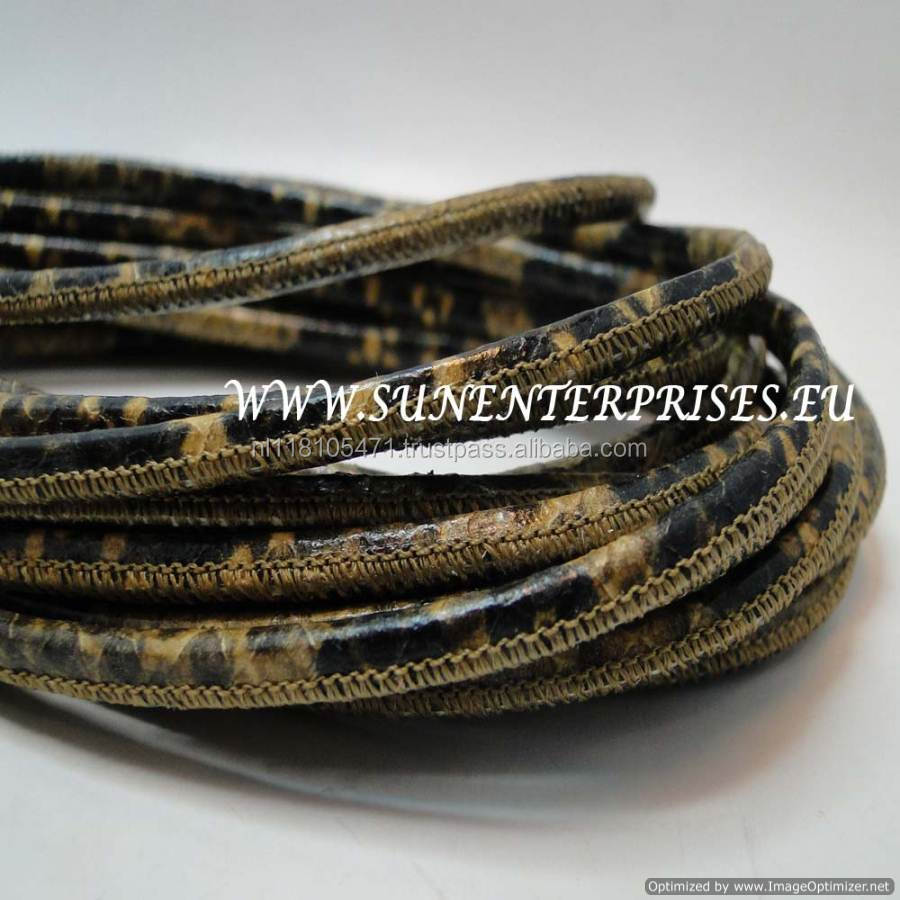 Round Leather Cords - nappa round stich python senape 4mm