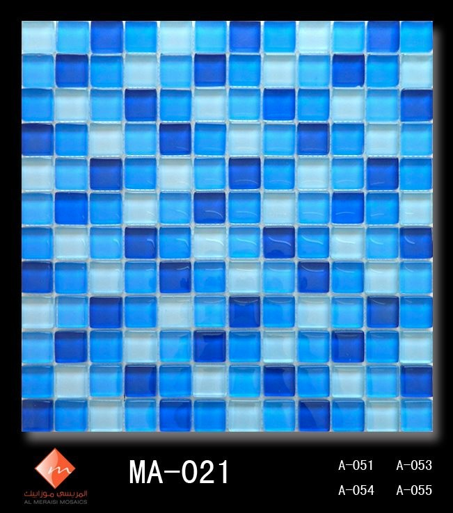 MA-021(Swimming Pool Glass Mosaics) Blue Various