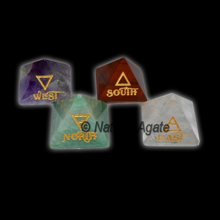 East-West-North-South Reiki Element Pyramids Set : Buy From Natural Agate