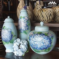 Urn/Pot mango wood blue flower painting with lid