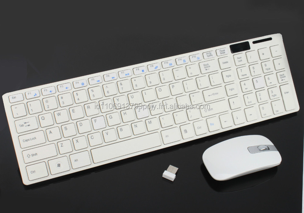 White 2.4G Optical Wireless Keyboard and Mouse USB Receiver Kit For PC