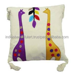 "Home Decor Cotton Cushion Cover Giraffe Patchwork White Handmade Throw 15"" Inches PL11776"