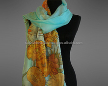 wholesale 100% Pure Silk Hand Painted Lady Women Scarf Hijab Scarf