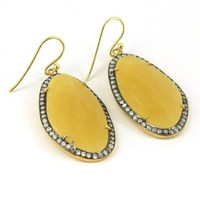 Gini Leafy !! Yellow Aventurine_CZ 925 Sterling Silver Earring, Silver Jewelry Manufacturer, Sterling Silver Jewelry