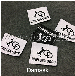 custom silver metallic logo patch woven labels